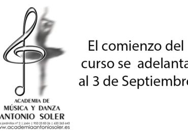 El comienzo del curso se adelanta al 3 de Septiembre